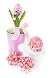 Cupcakes and hyacinth isolated on white Stock Images