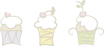 Cupcakes (I). Set of three cute pastel-colored cupcake (fairy cake) illustrations Royalty Free Stock Photos