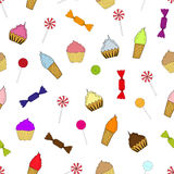 Cupcakes, ice cream and candy Royalty Free Stock Photos