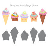 Cupcakes and ice cream cone isolated on white background, Shadow Matching Game for Preschool Children. Find the correct shadow. Ve. Ctor illustration Royalty Free Stock Images
