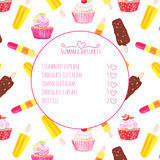 Cupcakes and ice cream watercolor vector menu card Stock Image