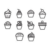 Cupcakes icon set. A collection of cupcake themed icon Stock Photography