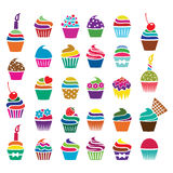 vector cupcakes icons Stock Photos
