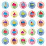Cupcakes icons with flat shadow, vector  Stock Photo