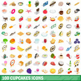 100 cupcakes icons set, isometric 3d style. 100 cupcakes icons set in isometric 3d style for any design vector illustration Stock Images