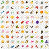 100 cupcakes icons set, isometric 3d style. 100 cupcakes icons set in isometric 3d style for any design vector illustration Royalty Free Stock Photography