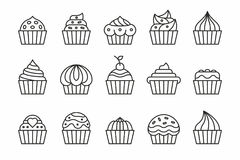 Cupcakes Icons vector illustration