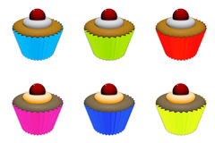 Cupcakes. Illustration of assorted  cupcakes with frosting and a cherry on top Stock Images