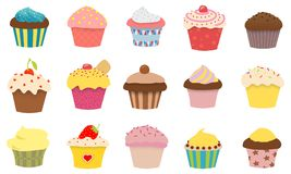 15 Cupcakes. Illustration of 15 styles of cupcakes Royalty Free Stock Photos