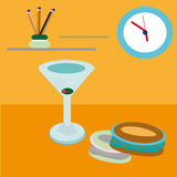 Cupcakes in the kitchen. Illustration about martini and cupcakes in the kitchen Stock Photography