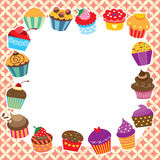Cupcakes layout design Royalty Free Stock Photography
