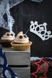 Cupcakes like a ghost. Halloween dessert. Royalty Free Stock Photos
