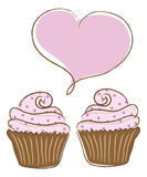 Cupcakes in Love Royalty Free Stock Photo