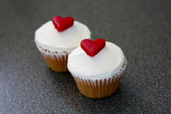 Cupcakes with Love Hearts Stock Image