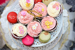 Cupcakes And Macarons. On A Tray As A Wedding Gift royalty free stock photos