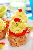 Cupcakes made from minced meat and potato puree for dinner Royalty Free Stock Photo