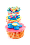 Cupcakes with marzipan decoration Royalty Free Stock Photos