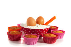 Cupcakes with meal and eggs Royalty Free Stock Images