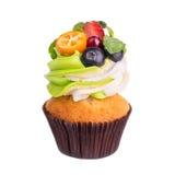Cupcakes met bessen op een witte achtergrond Geïsoleerde Royalty-vrije Stock Foto