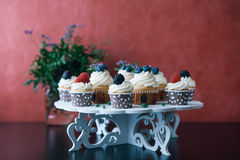 Cupcakes met bessen op zwarte lijst eigengemaakt Exemplaar-ruimte Framboos en bosbes Conceptennatuurvoeding zonder kleurstoffen Stock Foto