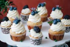 Cupcakes met bessen op zwarte lijst eigengemaakt Macro Framboos en bosbes Conceptennatuurvoeding zonder kleurstoffen Royalty-vrije Stock Foto's