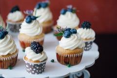 Cupcakes met bessen op zwarte lijst eigengemaakt Macro Framboos en bosbes Conceptennatuurvoeding zonder kleurstoffen Royalty-vrije Stock Foto
