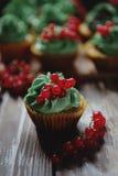 Cupcakes met het close-up van de pistacheroom Stock Afbeeldingen