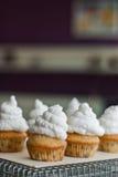 Cupcakes met schuimgebakjes het berijpen wordt verfraaid die Stock Fotografie