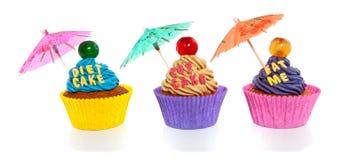 Cupcakes met tekst en paraplu Royalty-vrije Stock Afbeelding