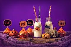 Cupcakes with milk Royalty Free Stock Photos