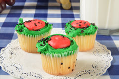 Cupcakes and milk Royalty Free Stock Photography