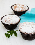 Cupcakes. With mint on a old white wooden background Stock Photography