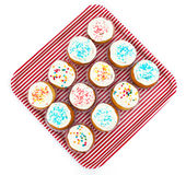 Cupcakes, muffins with sprinkles royalty free stock image