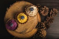 Cupcakes op het hout Royalty-vrije Stock Foto