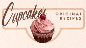 Cupcakes Original Recipes Retro Banner. Chocolate Muffin wLooking with Cream. Cupcakes Original Recipes Retro Looking Banner. Chocolate Muffin with Cream and vector illustration