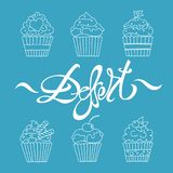 Cupcakes outline dessert Royalty Free Stock Photo