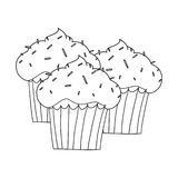 Cupcakes outline illustration. Cupcakes with sprinkles on top Royalty Free Stock Photos