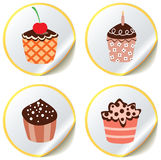 Cupcakes on paper stickers Stock Photography