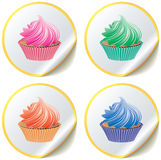 Cupcakes on paper stickers Royalty Free Stock Photography