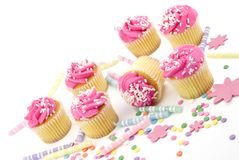 Cupcakes with Party Supplies Royalty Free Stock Photography