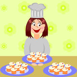 Cupcakes for the party. A woman cooking some cakes for a party Stock Image