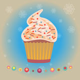 Cupcakes Pastry Shop Logo. Chocolate Cupcakes with Sprinkles. Pastry Shop vector Logo. Cupcakes Menu Picture. Snowflakes and Christmas Decorations digital Stock Photos