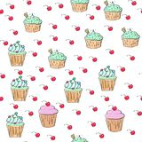 Cupcakes pattern illustration. Seamless print with pastry set. Vector bakery background.Hand draw style stock illustration