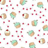 Cupcakes pattern illustration. Seamless print with pastry set. Vector bakery background.Hand draw style royalty free illustration