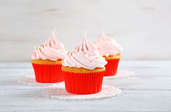 Cupcakes with pink cream Royalty Free Stock Images