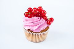 Cupcakes with pink cream and red currant Stock Photo