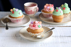 Cupcakes with pink and green frosting Royalty Free Stock Images