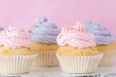 Cupcakes with pink and violet buttercream standing on pastel pink background. Royalty Free Stock Images