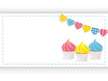 Cupcake background panel and bunting Royalty Free Stock Image