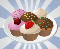 Cupcakes on plate vector illustration